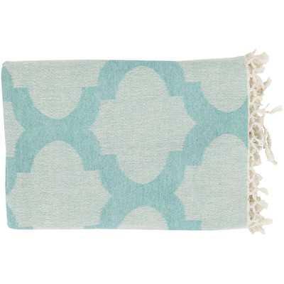 Kemp Throw Blanket - Aqua / Ivory - Wayfair