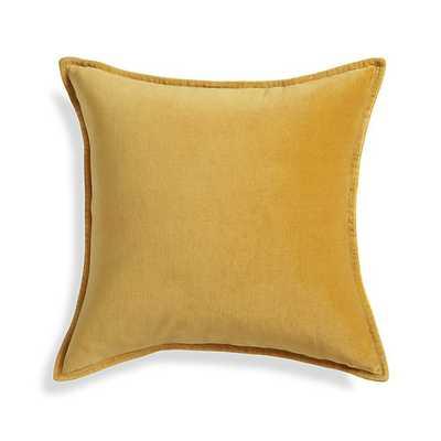 "Brenner Yellow 20"" Velvet Pillow with Feather-Down Insert - Overstock"