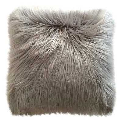 """Long Haired Gray Fur Pillow - 18""""sq. - Polyester Fill - Target"""