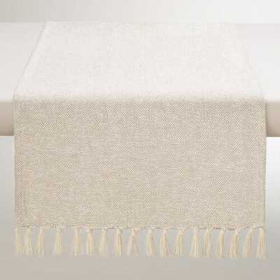 Ivory and Silver Herringbone Table Runner - World Market/Cost Plus