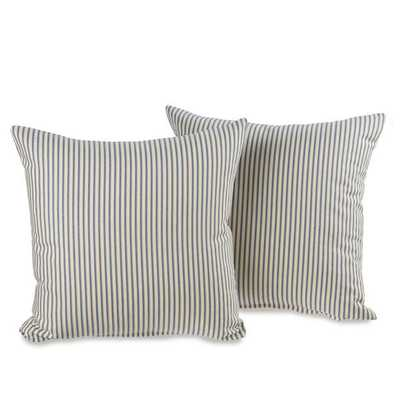 Ticking Stripe Blue Decorative 20-inch Throw Pillows (Set of 2)- Polyfill insert - Overstock