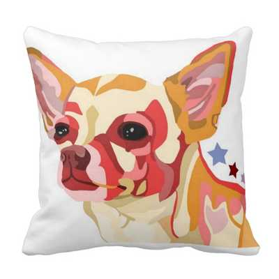 "Chihuahua Throw Pillow Colorful Abstract 16"" x 16"" with insert - zazzle.com"