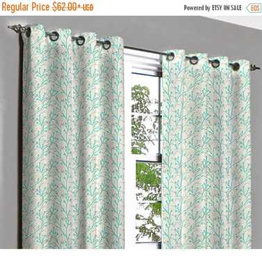 Rio Aqua Coral Grommet Blackout Lined Curtain - Etsy