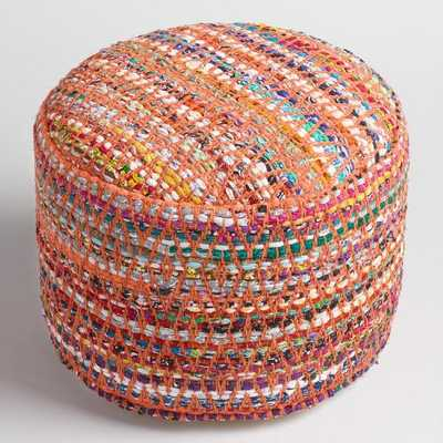 Multi-Color Round Chindi Pouf - World Market/Cost Plus