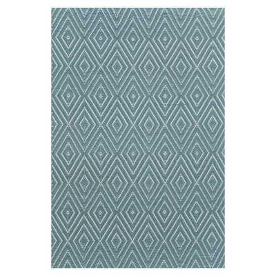 Woven Slate/Light Blue Diamond Indoor/Outdoor Area Rug - AllModern