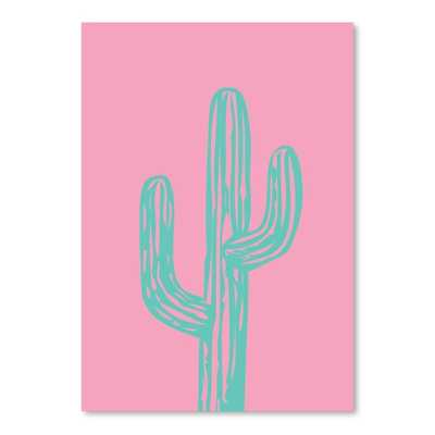 "Teal Cactus Graphic Art - 10"" H x 8"" W - Unframed - Wayfair"