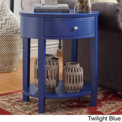 NSPIRE Q Fillmore 1-drawer Oval Wood Shelf Accent End Table - Overstock