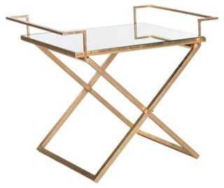Melody Mirrored Side Table, Gold - One Kings Lane