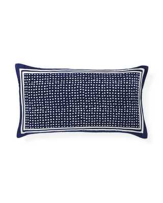 "Silk Dot Lumbar Pillow Cover-12"" x 21""-Navy-Insert sold separately - Serena and Lily"