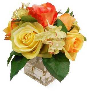"""7"""" Rose & Hydrangea in Vase, Faux - One Kings Lane"""