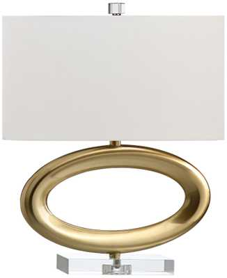 Gateway Horizontal Satin Brass Open Oval Table Lamp - Lamps Plus