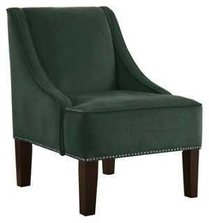 Fletcher Swoop-Arm Chair, Jade Velvet - One Kings Lane