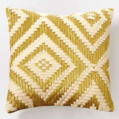 """Metallic Layered Diamond Pillow Cover - Gold- 16""""sq- Insert sold separately - West Elm"""