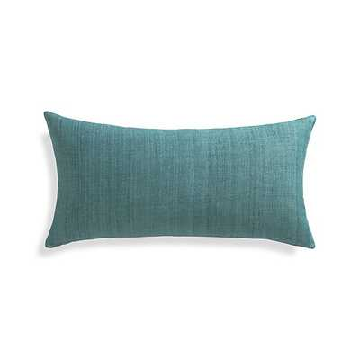 "Michaela Azure Blue 24""x12"" Pillow with Feather-Down Insert - Crate and Barrel"