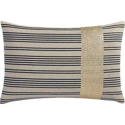 "York 18""x12"" Black/neutral/gold pillow with down-alternative insert - CB2"