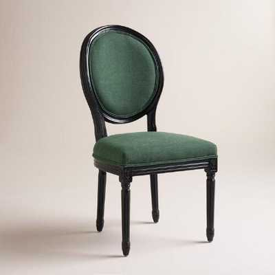 Green Linen Paige Round-Back Black Frame Chairs, Set of 2 - World Market/Cost Plus