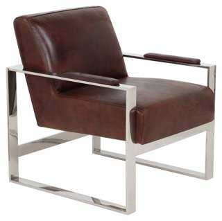 Portland Leather Chair, Tobacco - One Kings Lane
