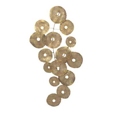 Aurelle Home 'Gold Flowers' Metal Art - Unframed - Overstock