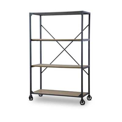 Baxton Studio Caribou Industrial Rustic Wood and Metal Bookcase - Overstock