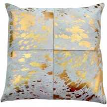 "Canaan Gold Hair On Hide Pillow, 20"" x 20"", Down and feather insert - High Fashion Home"