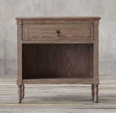 "LOUIS XVI 30"" OPEN NIGHTSTAND - Burnt Oak Drifted - RH"