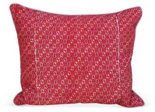 Pillow w/ Coral Hmong Textile - One Kings Lane