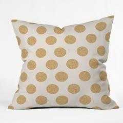 """GOLD DOTS Throw Pillow - 16"""" x 16"""" - Polyester fill insert - Wander Print Co."""