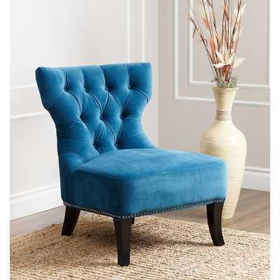 ABBYSON LIVING Sedona Blue Microsuede Nailhead Chair - Overstock