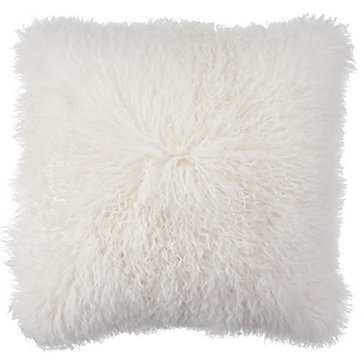 """Mongolian Pillow 22""""- White - Z Gallerie"""