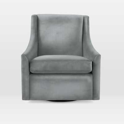 Sweep Swivel Armchair - Luster Velvet, Steel Blue - West Elm