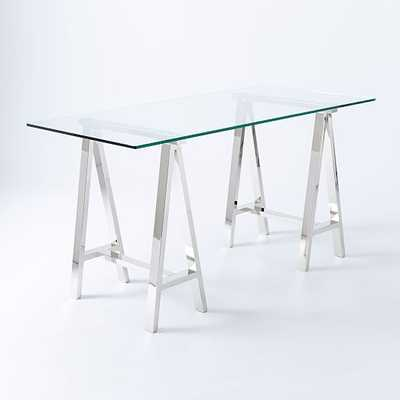 Glass Cross Base Desk-Medium - West Elm