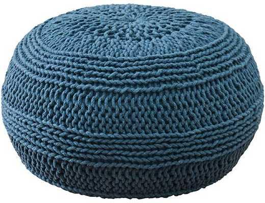 WOVEN ROPE POUF - BLUE - Home Decorators