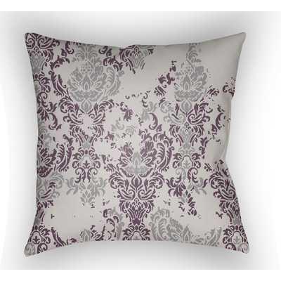 "Moody Damask Throw Pillow-Grey/Purple-20""x20""-Insert - Wayfair"