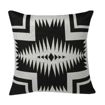 """Black & White Southwest Cushion, 20""""x20"""" - Feather Insert - Houzz"""