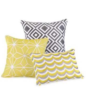 "Trina Turk Giraffe 16"" Sq- Yellow, white- Decorative Pillow- Feather & down insert - Macys"
