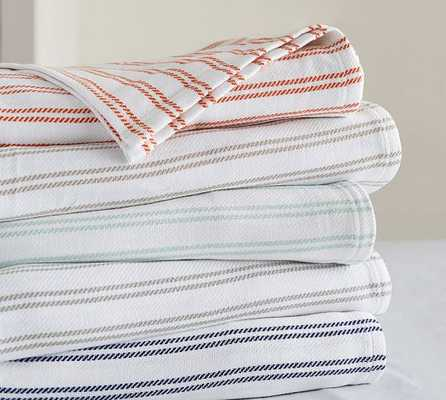 Stripe Organic Blanket - Full/Queen - Smoke - Pottery Barn