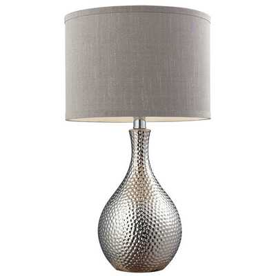 Ceramic 1-light Hammered Chrome-plated Table Lamp - Overstock