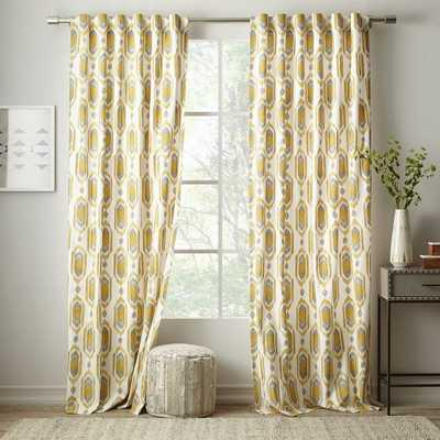 "Cotton Canvas Ikat Gem Curtain- 96"" - West Elm"