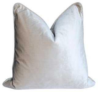 """Kravet Alabaster Silk Velvet Pillow 22"""" L x 22"""" W, feather/down insert - One Kings Lane"""