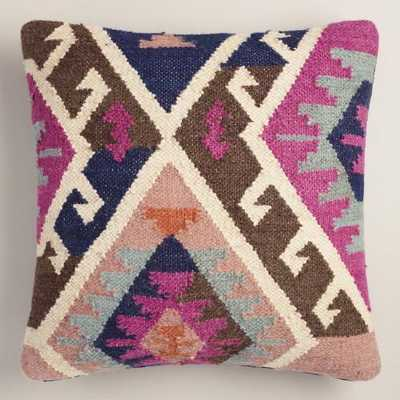 "Pink Wool and Cotton Kilim Throw Pillow - 20""Sq. - Insert included - World Market/Cost Plus"