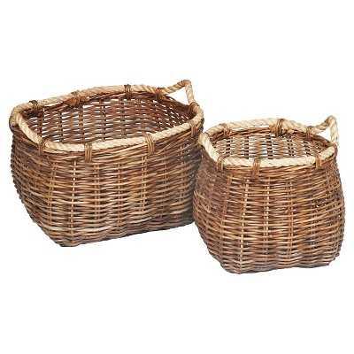 Malia Curved Rattan Wicker Baskets - Set of 2 - Target