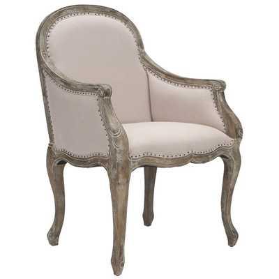 Safavieh Arles Beige/ Antiqued Oak Finish Nailhead Arm Chair - Overstock