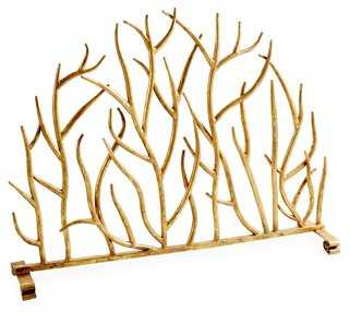 "30"" Decorative Twig Fire Screen, Gold - One Kings Lane"