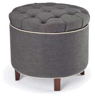 Arabella Storage Ottoman, Slate Gray - One Kings Lane