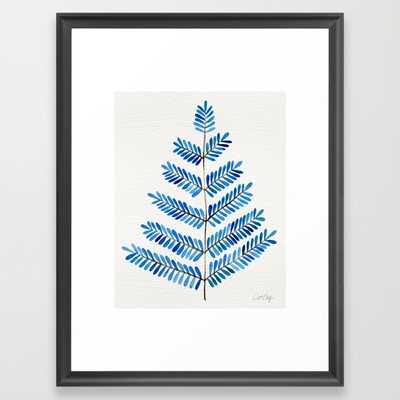 "Blue Leaflets - 20"" x 26"" - Framed - Society6"
