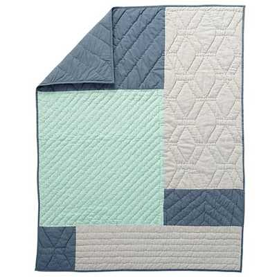 Blue Pattern Casual Baby Quilt - Land of Nod