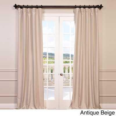 "Faux Silk Taffeta Solid Blackout Curtain Panel - Antique beige, 84""L - Overstock"