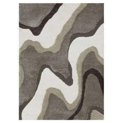 Enchant Gray & White Shag Area Rug - Wayfair