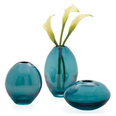 "Mini Glass Lustre Vases (Set of 3) Teal - 5.25"" - Target"