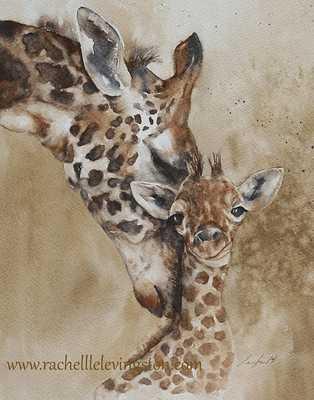 "giraffe painting watercolour print- 11 x14""-Unfrmaed - Etsy"